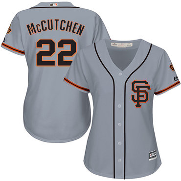 Giants #22 Andrew McCutchen Grey Road 2 Women's Stitched MLB Jersey