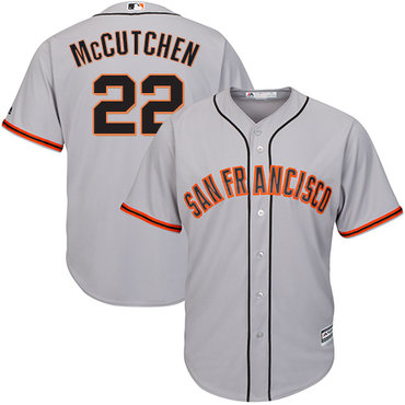 Giants #22 Andrew McCutchen Grey Road Cool Base Stitched Youth MLB Jersey