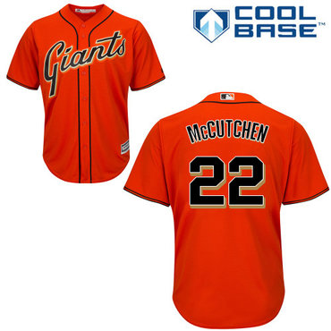 Giants #22 Andrew McCutchen Orange Alternate Cool Base Stitched Youth MLB Jersey