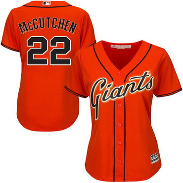 Giants #22 Andrew McCutchen Orange Alternate Women's Stitched MLB Jersey