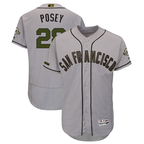 Giants #28 Buster Posey Gray Flexbase Authentic Collection 2018 Memorial Day Stitched Baseball Jersey
