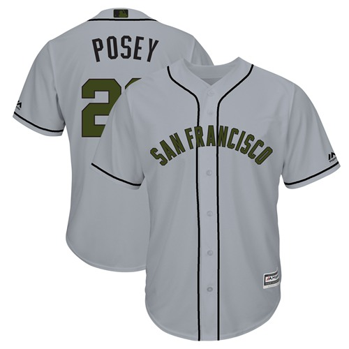 Giants #28 Buster Posey Grey New Cool Base 2018 Memorial Day Stitched Baseball Jersey
