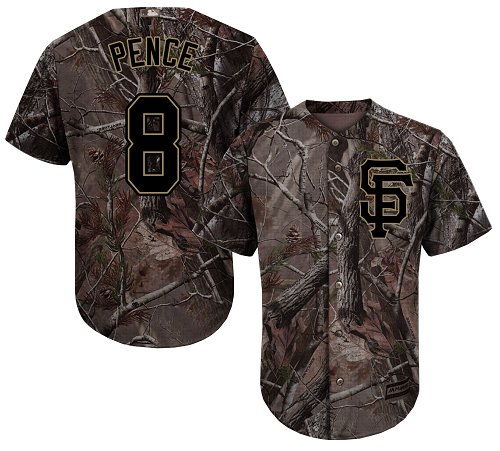 Giants #8 Hunter Pence Camo Realtree Collection Cool Base Stitched Youth Baseball Jersey