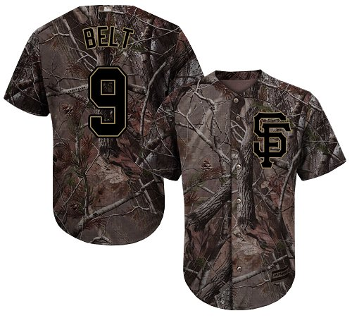 Giants #9 Brandon Belt Camo Realtree Collection Cool Base Stitched Youth Baseball Jersey