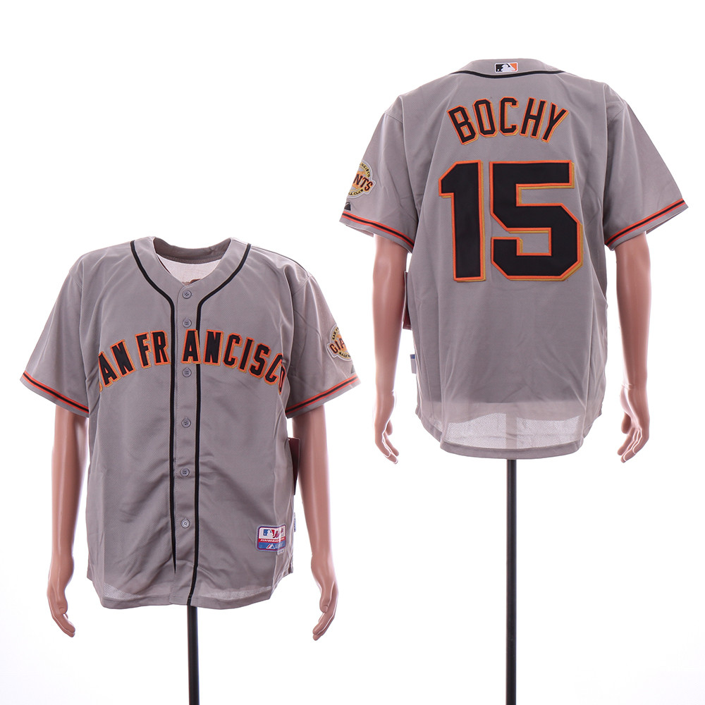 Giants 15 Bruce Bochy Gray Cool Base Jersey
