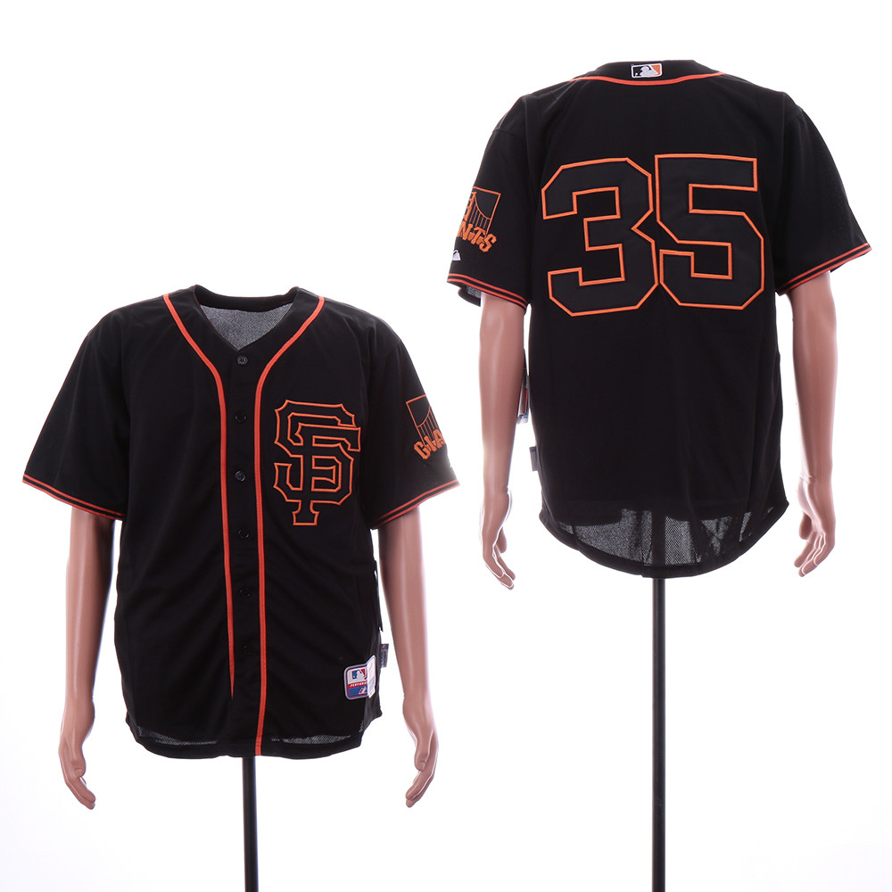 Giants 35 Brandon Carwford Black Alternate Cool Base Jersey