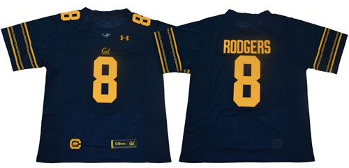 Golden Bears #8 Aaron Rodgers Navy Blue Under Armour Premier Stitched NCAA Jersey