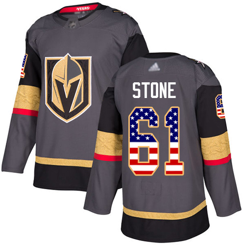 Golden Knights #61 Mark Stone Grey Home Authentic USA Flag Stitched Hockey Jersey
