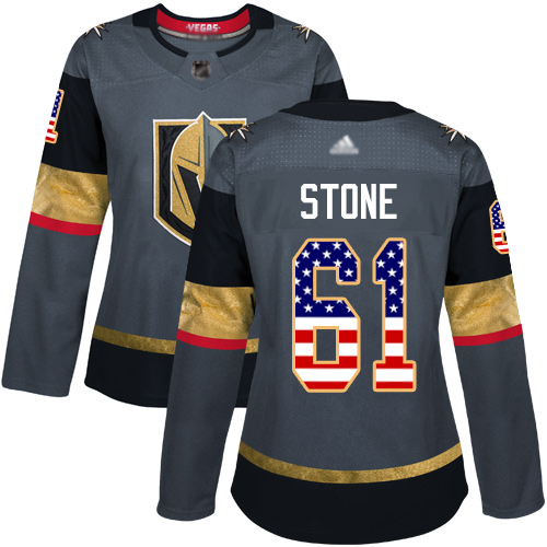 Golden Knights #61 Mark Stone Grey Home Authentic USA Flag Women's Stitched Hockey Jersey
