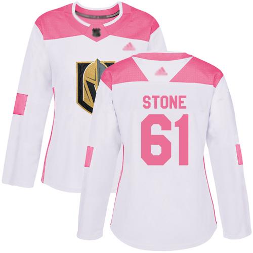 Golden Knights #61 Mark Stone White Pink Authentic Fashion Women's Stitched Hockey Jersey