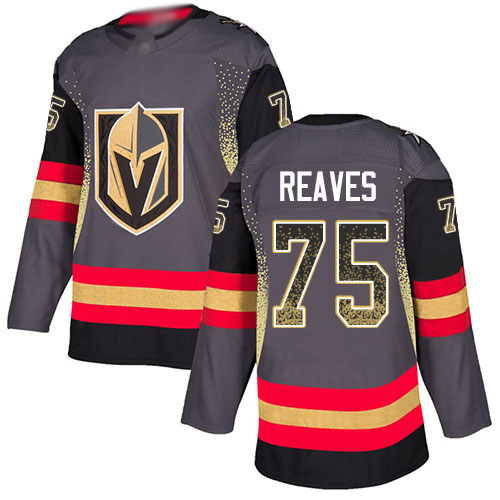 Golden Knights #75 Ryan Reaves Grey Home Authentic Drift Fashion Stitched Hockey Jersey