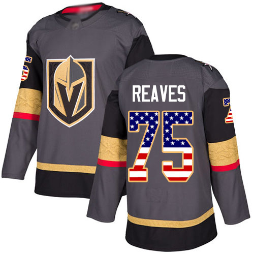 Golden Knights #75 Ryan Reaves Grey Home Authentic USA Flag Stitched Hockey Jersey