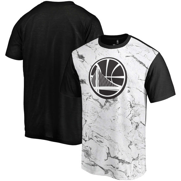 Golden State Warriors Marble Sublimated T Shirt White Black