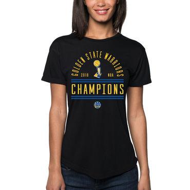 Golden State Warriors Sportiqe Women's 2018 NBA Finals Champions Arched Supersoft Tri-Blend T-Shirt Black