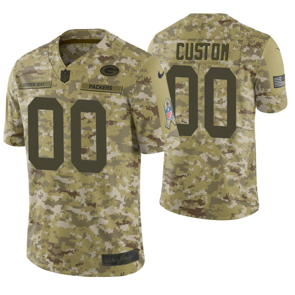 Green Bay Packers Custom Camo 2018 Salute to Service Limited Jersey