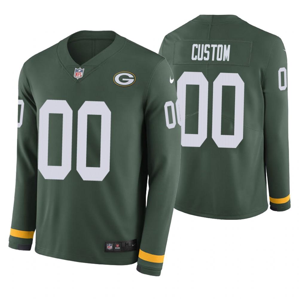 Green Bay Packers Custom Green Therma Long Sleeve Jersey