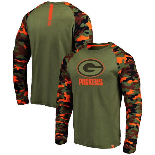 Green Bay Packers Heathered Gray Camo NFL Pro Line By Fanatics Branded Long Sleeve T-Shirt
