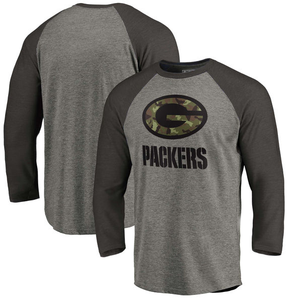 Green Bay Packers NFL Pro Line By Fanatics Branded Black Gray Tri Blend 34-Sleeve T-Shirt