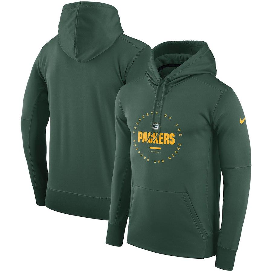 Green Bay Packers Nike Sideline Property Of Wordmark Logo Performance Pullover Hoodie Green