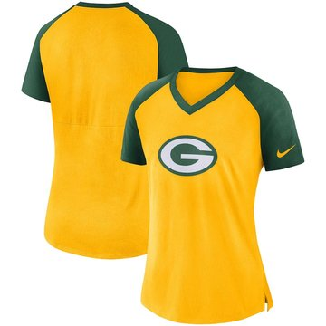 Green Bay Packers Nike Women's Top V Neck T-Shirt Gold Green