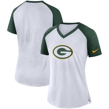 Green Bay Packers Nike Women's Top V Neck T-Shirt White Green