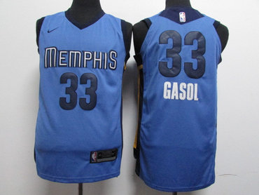 Grizzlies 33 Marc Gasol Light Blue Nike Authentic Jersey