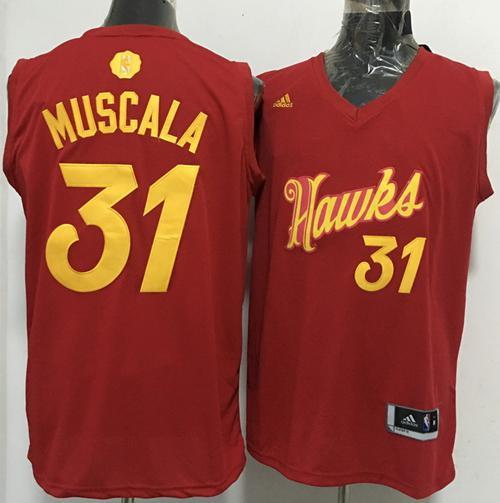 Hawks #31 Mike Muscala Red 2016-2017 Christmas Day Stitched NBA Jersey
