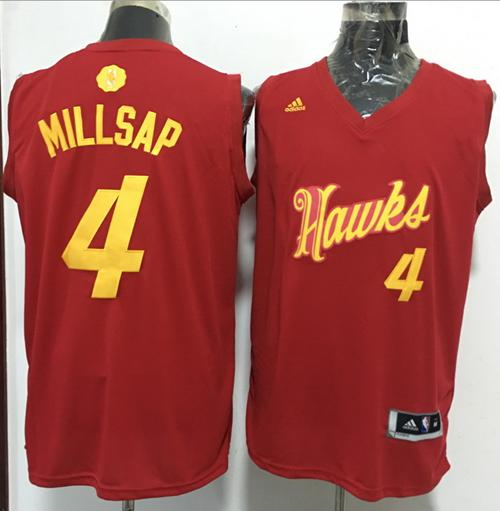 Hawks #4 Paul Millsap Red 2016-2017 Christmas Day Stitched NBA Jersey