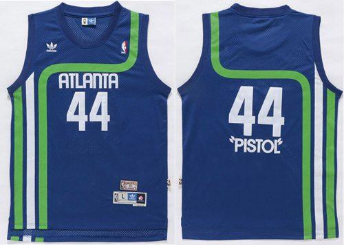 Hawks #44 Pete Maravich Light Blue Pistol Soul Swingman Stitched NBA Jersey