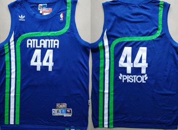 Hawks 44 Pistol Pete Maravich Blue Hardwood Classics Jersey