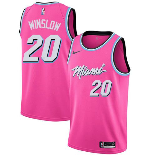 Heat #20 Justise Winslow Pink Basketball Swingman Earned Edition Jersey