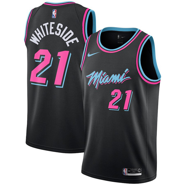Heat 21 Hassan Whiteside Black 2018-19 City Edition Nike Swingman Jersey