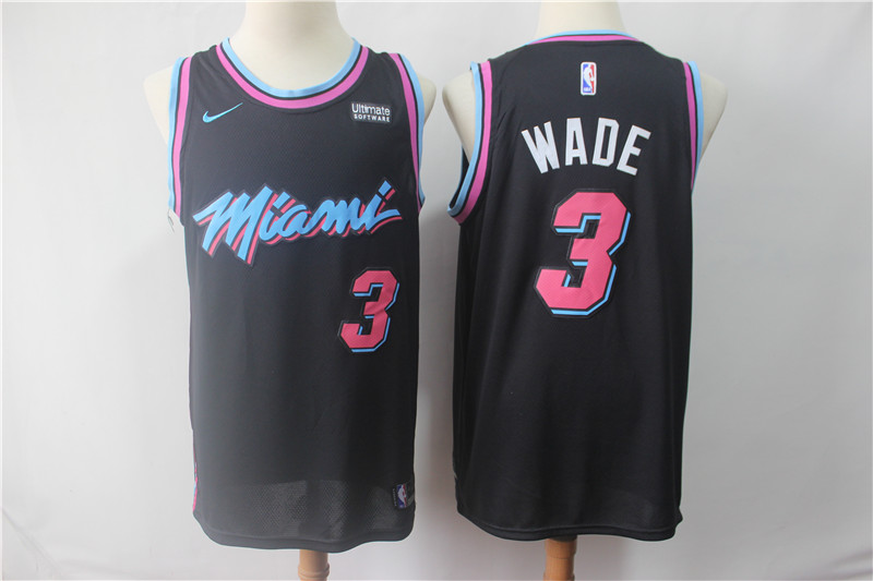 Heat 3 Dwyane Wade Black 2018-19 City Edition Nike Swingman Jersey