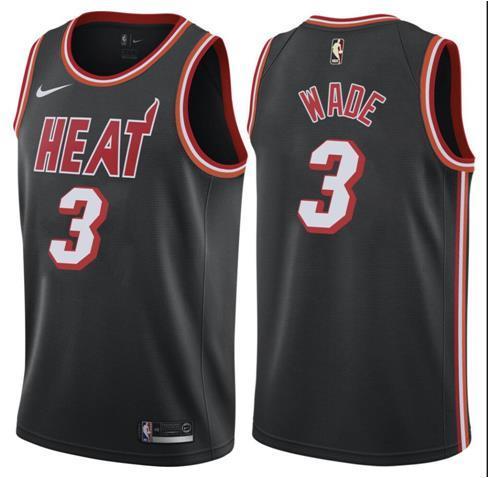 Heat 3 Dwyane Wade Black Mitchell & Ness Nike Swingman Jersey