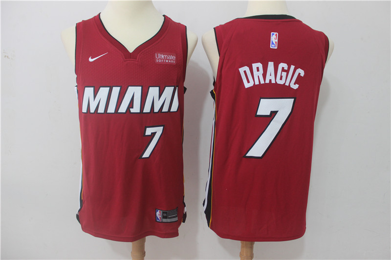 Heat 7 Goran Dragic Red Nike Authentic Jersey