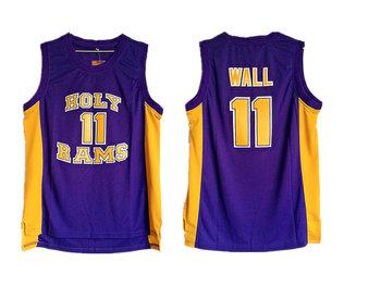 Holy Rams 11 John Wall Purple High School Basketball Jersey