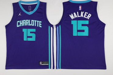 Hornets 15 Kemba Walker Purple Nike Swingman Jersey