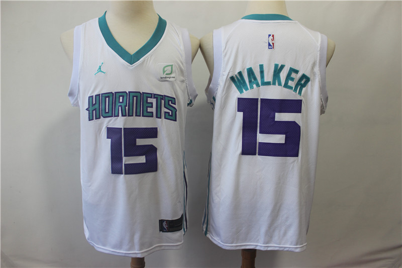 Hornets 15 Kemba Walker White Jordan Brand Swingman Jersey