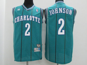 Hornets 2 Larry Johnson Teal Hardwood Classics Jersey