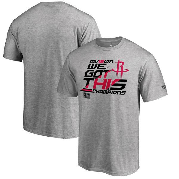 Houston Rockets Fanatics Branded 2018 NBA Southwest Division Champions Locker Room Big & Tall T-Shirt Heather Gray
