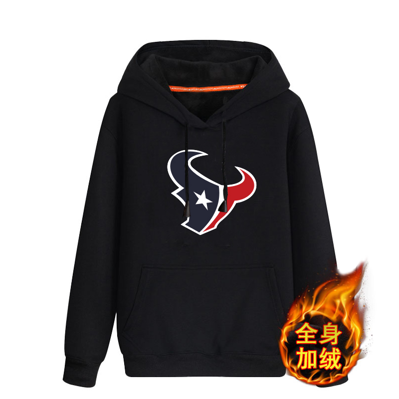 Houston Texans Black Men's Winter Thick NFL Pullover Hoodie