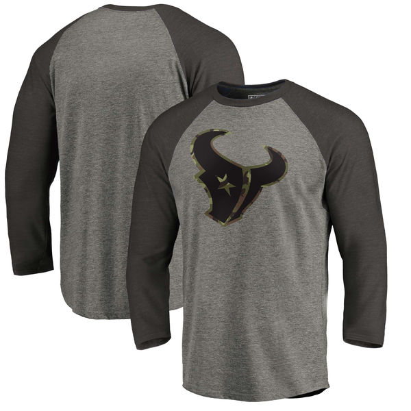 Houston Texans NFL Pro Line By Fanatics Branded Black Gray Tri Blend 34-Sleeve T-Shirt