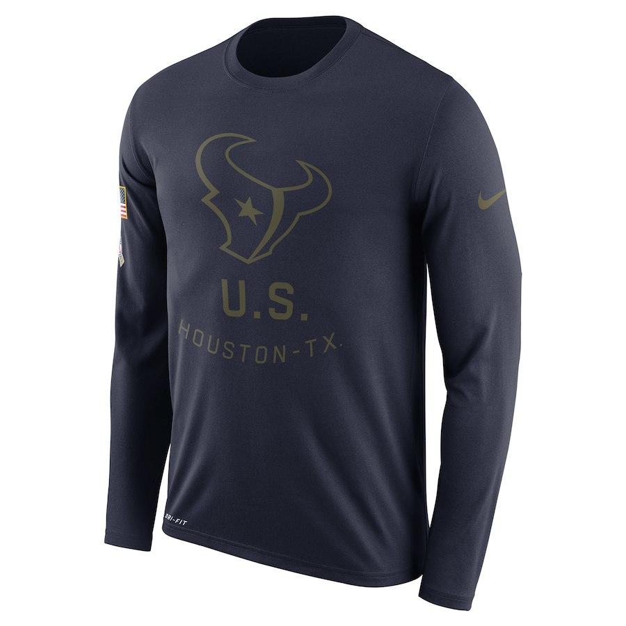Houston Texans Nike Salute To Service Sideline Legend Performance Long Sleeve T-Shirt Navy