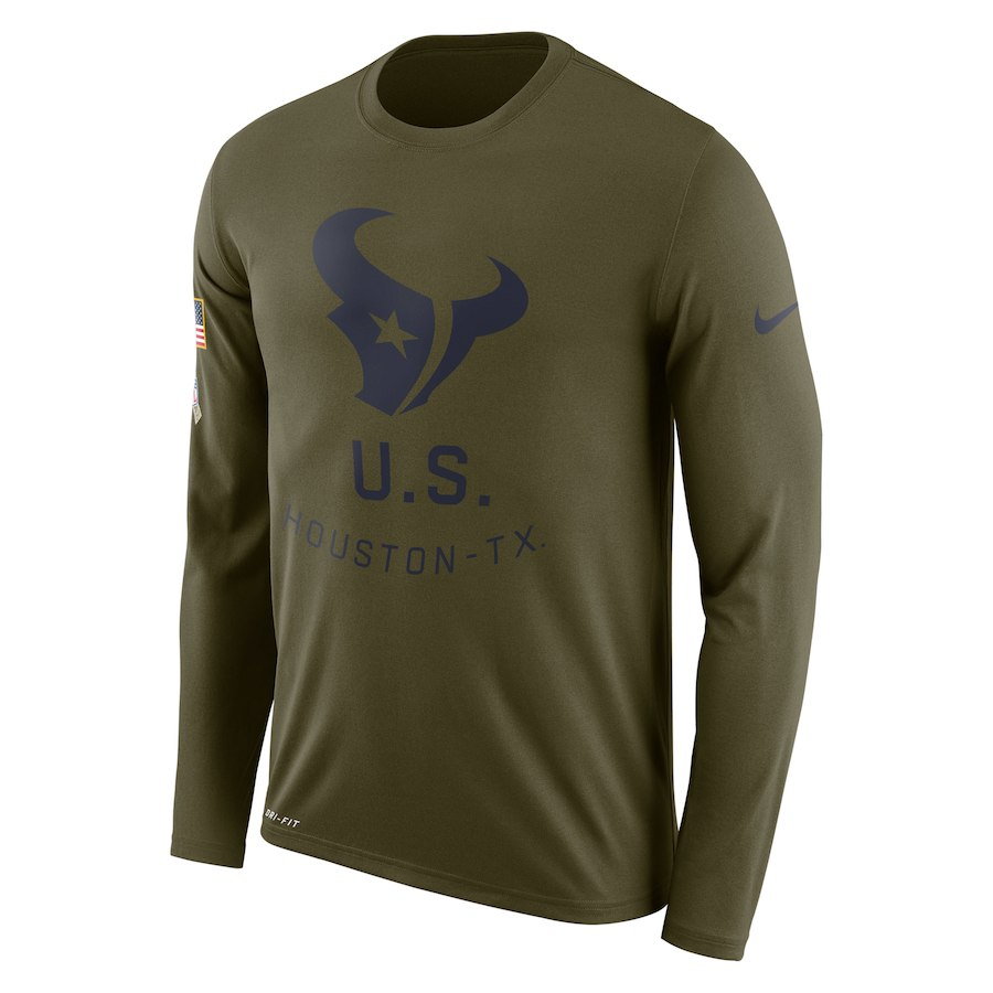 Houston Texans Nike Salute To Service Sideline Legend Performance Long Sleeve T-Shirt Olive