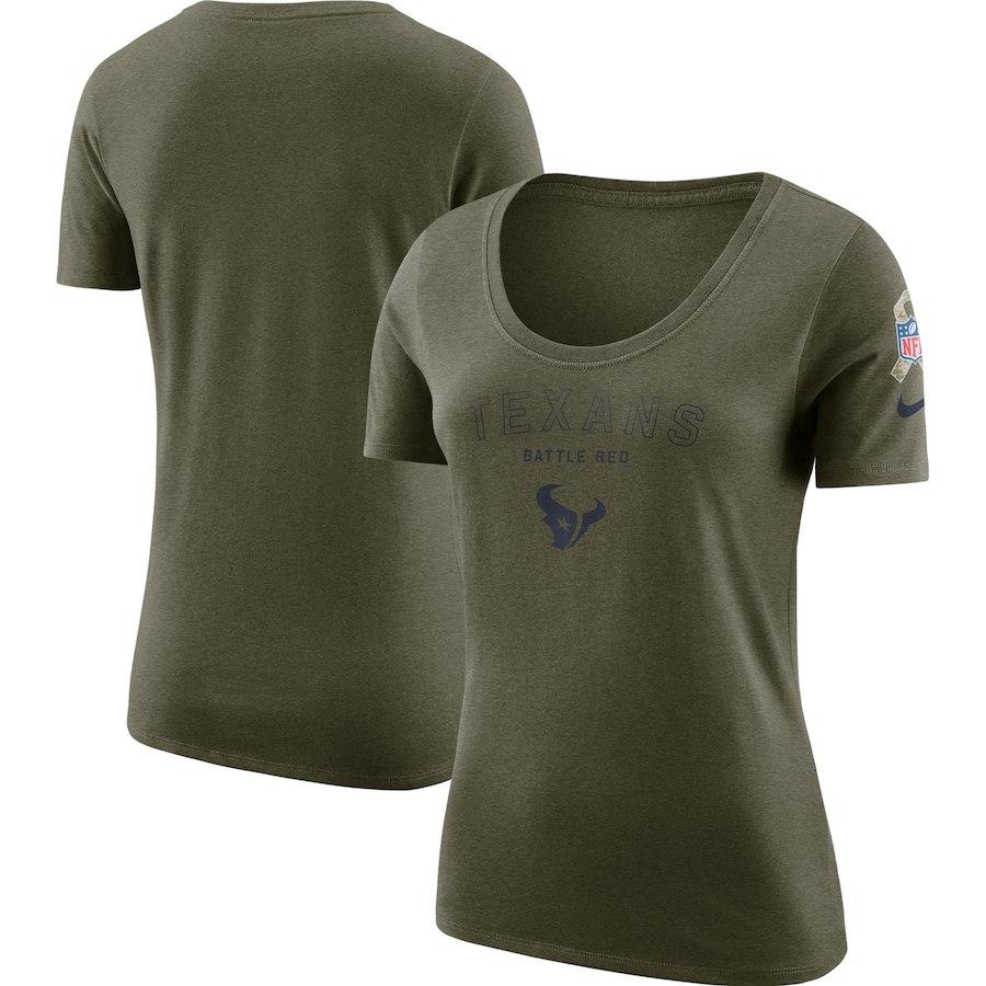 Houston Texans Nike Women's Salute To Service Legend Scoop Neck T-Shirt Olive