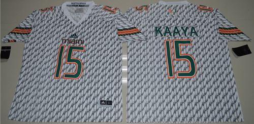 Hurricanes #15 Brad Kaaya White Stitched NCAA Jerseys