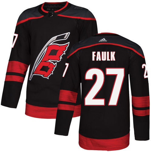 Hurricanes #27 Justin Faulk Black Alternate Authentic Stitched Hockey Jersey