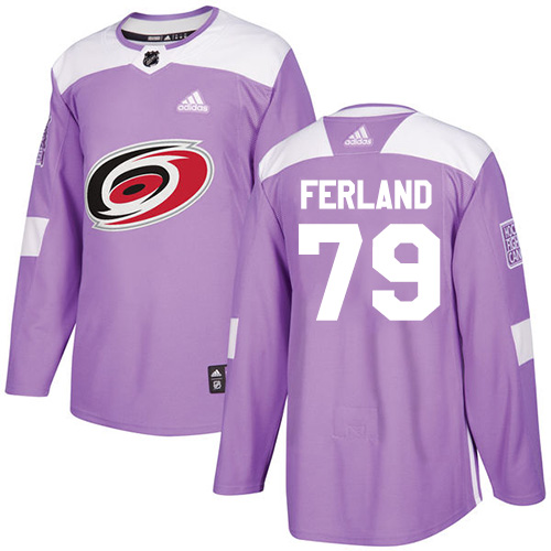 Hurricanes #79 Michael Ferland Purple Authentic Fights Cancer Stitched Hockey Jersey