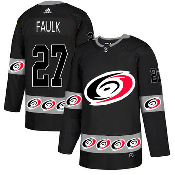 Hurricanes 27 Justin Faulk Black Team Logos Fashion Adidas Jersey