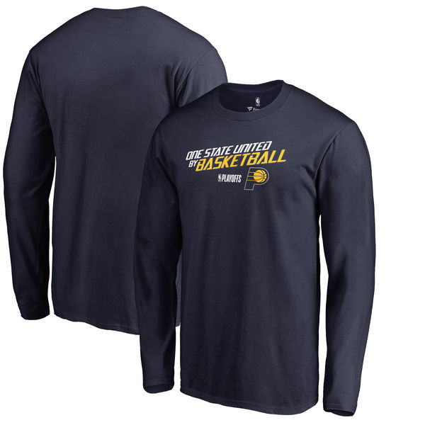 Indiana Pacers Fanatics Branded 2018 NBA Playoffs Slogan Long Sleeve T-Shirt Navy